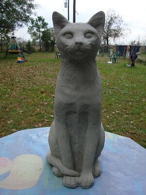 LG DOMESTIC CAT SIAMESE KITTEN TALL GRAY CEMENT/CONCRETE GARDEN STATUE MEMORIAL