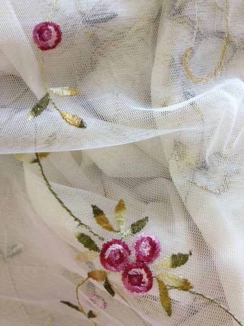 Embroidered roses shower curtain beige free s h