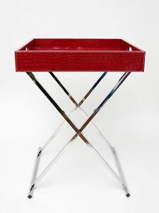 tabletttisch serviertablett servieren tablett tisch couchtisch leder rot edel ebay. Black Bedroom Furniture Sets. Home Design Ideas