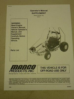 MANCO MODEL 808-01 GO KART PARTS LIST OPERATORS MANUAL CART