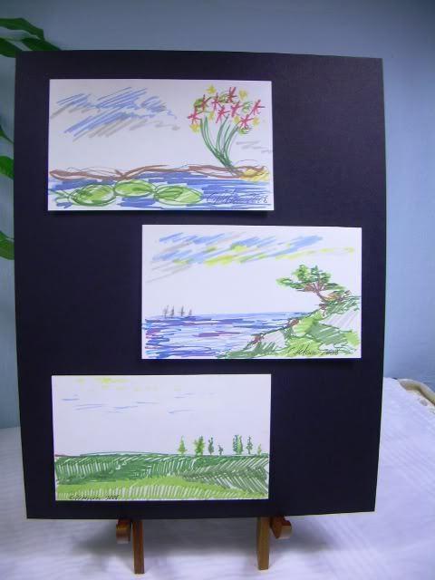 C Peterson 3 ORIGINAL landscape POP ART sketches ACEO drawings land + sea scapes