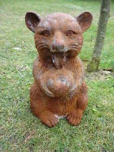 Statue animal en fonte patin rouill un raton laveur - Enlever rouille sur fonte ...