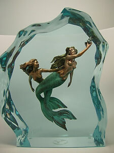 Keep-A-Way-by-Christopher-Pardell-LIMITED-EDITION-bronze-in-lucite-mermaids-sea