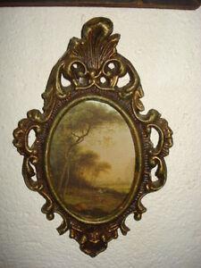 Vintage Old Oval Plastic Photo Picture Ornate Frame
