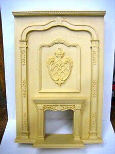 DOLLHOUSE MINIATURE GRAND FIREPLACE BESQUE STYLE w/ CREST
