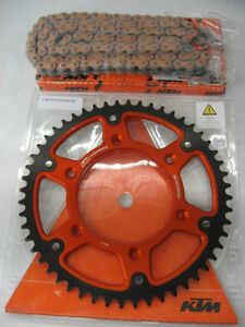 KTM ORANGE Z-RING CHAIN W/ STEALTH ORANGE REAR SPROCKET KIT - NEW!