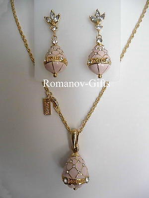 Russian Imperial FABERGE Regal PINK EGG Necklace Set w/ Earrings (Posts)