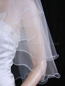2T White Elbow Length Scallop Pencil Edge Bridal Wedding Veil