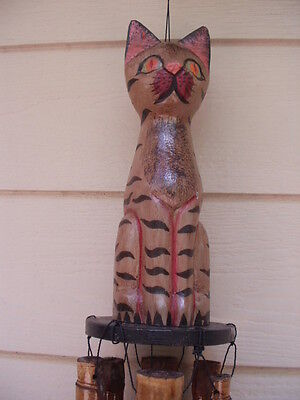 Bamboo Wind Chimes Carved Wood Striped Cat Top FREE SHIP