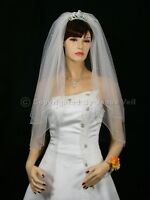 2T White Bridal Elbow Length Scattered Pearl Wedding Veil