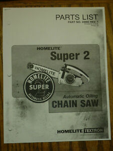 HOMELITE-CHAIN-SAW-SUPER-2-PARTS-MANUAL-PART-24983-REV-1-SAWS-CHAINSAWS