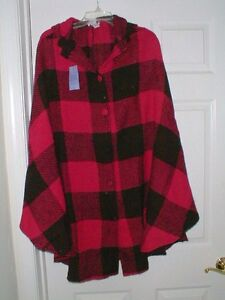 HSN-hot-in-hollywood-WOMENS-PLUS-CAPE-PONCHO-BUTTON-FRONT-HOOD-RED-BLACK-PLAID