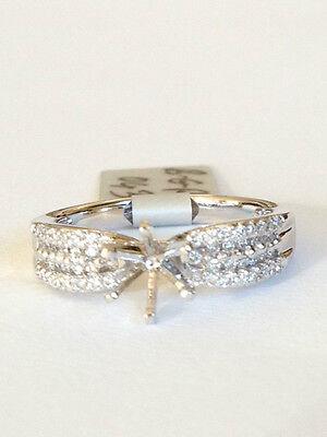 Diamond Engagement ring semi-mount .50 carat  round diamond 18k white gold