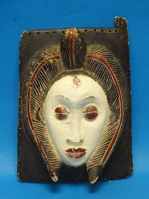 """RARE ANTIQUE AFRICAN WALL MASK PLAQUE ~ 13"""" x 10"""""""