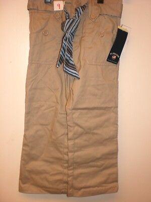 Us Polo Assn 2 Button Front W/ Belt Elastic Back Girl's Pants Size 4 Khaki