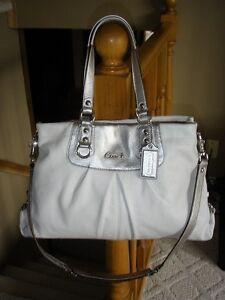Coach-Ashley-Leather-Carryall-Bag-15513-White-Silver-EUC