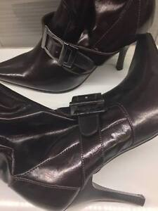 faux leather buckle high heel boots