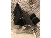 BLACK GLASS DINING TABLE 4 CHAIRS LOUIS GLAMOUR