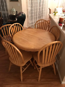 Wood table and six chairs