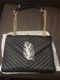 Womens YSL Envelope Designer Inspired Leather Handbag Black Gold UK 599e44ce5c2d8