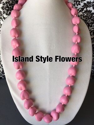 Kukui Nut Lei Solid Pink Necklace Hawaiian Luau Party Breast Cancer Month