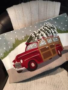 Pottery Barn Woody Car Crewel Lumbar Pillow Cover 16x26 Embroidered Christmas