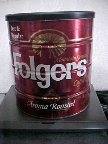 VINTAGE FOLGERS AROMA ROASTED STEEL COFFEE CAN W/LID   (FOLGERS20-7)