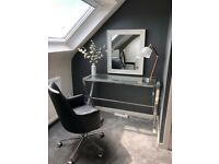Glass and Stainless steel table and chair mirror and lamp