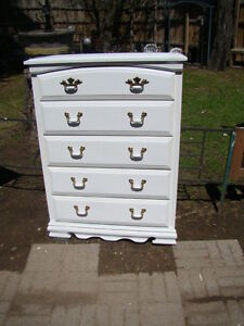 5 drawer wood dresser (painted white) just reduced to $85.00)