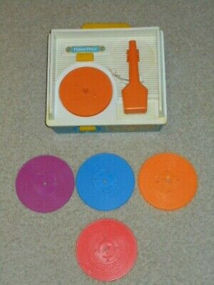 Vintage Fisher Price Record Player/Music Box with Records 1970s - FREE SHIPPING