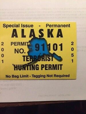 "New!!! ALASKA TERRORIST HUNTING PERMIT ""special issue resident"" sticker/decal AK"