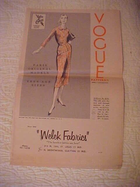 April 1955 Vogue Pattern Brochure Welek Fabrics St Louis MO