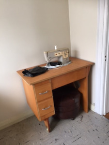Vintage Wooden Desk with Drawers,
