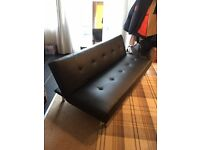 Black Leather Sofa Bed - Click and Clack