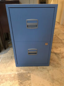 Blue Bisley Metal Filing Cabinet 2 Drawer A4