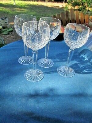 WATERFORD CRYSTAL 4 WINE HOCK GOBLETS GLASSES BALLOON SHAPE 7 1/2