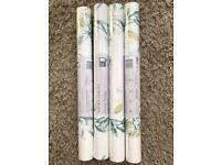 LAURA ASHLEY WALLPAPER -FLORAL STRIPE X 4 ROLLS -paste the wall