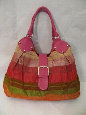 Gestreifte Damen Handtasche (Gestreifte Damenhandtasche, Shopper, Handtasche bunt pink orange rot Croissant)
