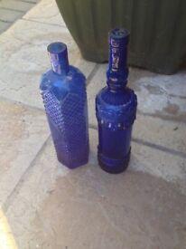 2x blue glass bottles