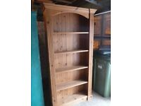 Solid Waxed Pine Bookcase in Excellent Condition
