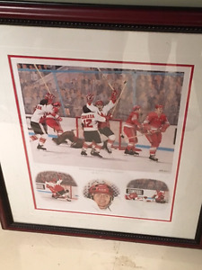 Henderson scores for Canada print from Summit Series-autographed