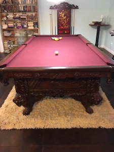 Custom Hand Carved Pool Table