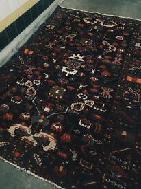 AZA - Antique Traditional Vintage Persian Rug 213 X 145 CM 6.9 X 4.7 FT Handwoven Carpet Active