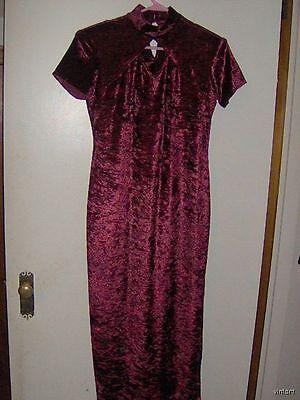 VTG 80's FASHION BUG RED WINE/BURGUNDY CRUSHED VELVET MAXI/WIGGLE Dress/MOD 6/S