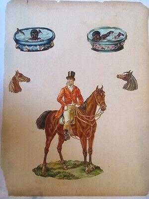 5 schöne alte Präge Oblaten Glanzbild Koloniezeit Reiter Pferd Kinder um 1890