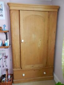 Stripped and waxed wooden wardrobe, poss 1930`s
