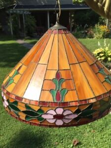 Tiffany Style Stained Glass Lamp Shade Floral Border