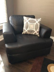 Leather look chair and ottoman