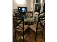 Glass Dining Table and 5 Chairs Bronzed Metal Frame - Diameter 114cm