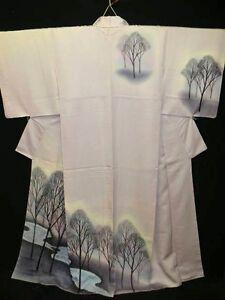 Light-Purple-Silk-034-Tsukesage-Kimono-034-w-Stream-Scenery-B723